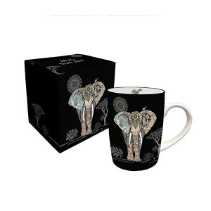 MUG EN PORCELAINE EN BOITE CADEAU 25 CL DECOR JEWELS ELEPHANT- KIUB