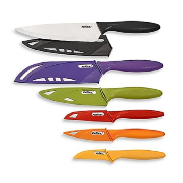 Coffret 6 couteaux de cuisine avec gaine de protection for Protege couteau cuisine