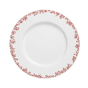 LOT DE 6 ASSIETTES PLATES DECOR STRAWBERRY ROUGE - MEDARD DE NOBLAT