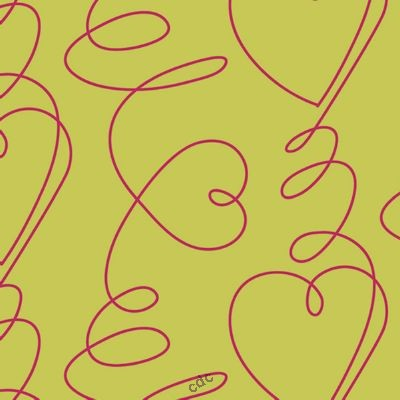 toile cir e sur mesure vendu par m tre lola la toile cir e originale heart beat pink. Black Bedroom Furniture Sets. Home Design Ideas