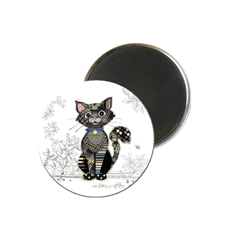 Magnet Rond Bug Art Kook Chat Noir KIUB MAGR21U05