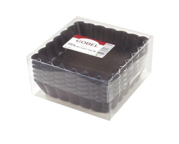 Boite de 6 tartelettes carrees 10x10 cm anti adherent for Casseroles et ustensiles culinaire
