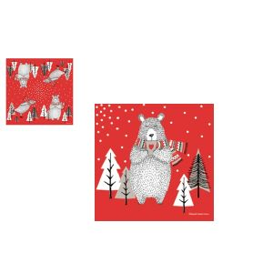 LOT DE 20 SERVIETTES EN PAPIER COLLECTION OURS ON ICE - FOX TROT
