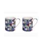 COFFRET 2 MUGS EN PORCELAINE 30CL  DIGITAL WAVE - JD DIFFUSION