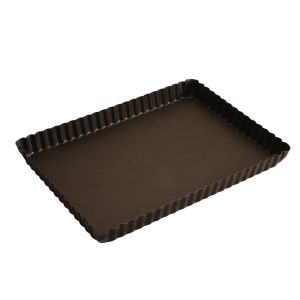 MOULE A TARTE RECTANGULAIRE FOND FIXE ANTI ADHERENT - USTENSILES A PATISSERIE - GOBEL