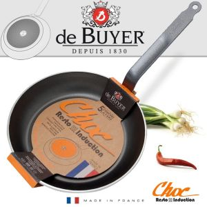 POELE RONDE 24 CM ANTI ADHESIVE CHOC RESTO INDUCTION - QUEUE FEUILLARD RIVETEE  - DE BUYER