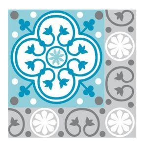 LOT DE 20 SERVIETTES DE TABLE INTISSE 25 X 25 CM CARREAUX GRIS ET TURQUOISE- FRANCOISE PAVIOT