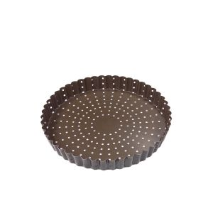 MOULE A TARTE OU TOURTIERE PERFOREE RONDE CANNELLEE FOND FIXE REVETEMENT ANTI ADHERENT  24 CM - GOBE