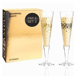LOT DE 2 VERRE A CHAMPAGNE DE COLLECTION RAMONA ROSENKRANZ (Day & Night Sparkle) - RITZENHOFF