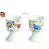 BOITE DE 2 COQUETIERS EN PORCELAINE DECOR FLOWER POWER - FOX TROT