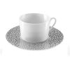 LOT DE 6 TASSES A THE AVEC SOUCOUPES BAGHERA PLATINUM - MEDARD DE NOBLAT