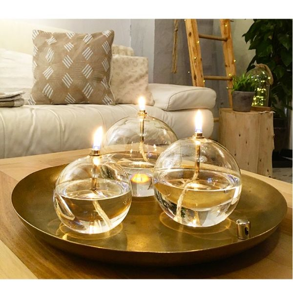 Peri Glass 1246 Lampe /à Huile Ronde en Verre GM 13cm Support M/èche Acier Laitonn/é