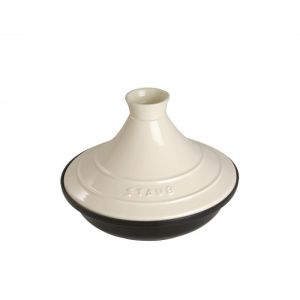 tajine en fonte dome en ceramique creme diametre 20 cm staub. Black Bedroom Furniture Sets. Home Design Ideas