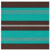 LOT DE 20 SERVIETTES DE TABLE INTISSE  40 X 40 CM STRIPES TURQUOISE - FRANCOISE PAVIOT