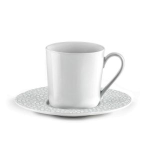 lot de 6 tasses a cafe avec soucoupes baghera blanc medard de noblat. Black Bedroom Furniture Sets. Home Design Ideas