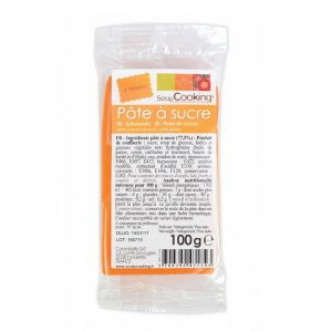 pate a sucre couleur orange100g pour patisserie scrapcooking