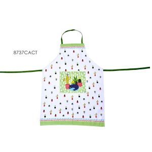 TABLIER DE CUISINE EN COTON DECOR CHAT CACTUS - FOX TROT