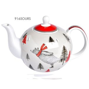 THEIERE EN PORCELAINE 1 LITRE + INFUSEUR DECOR OURS ON ICE - FOX TROT