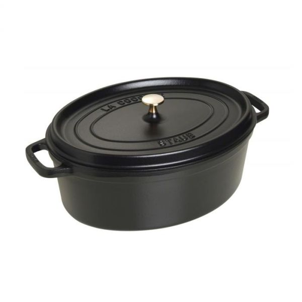cocotte en fonte avec picots ovale 37 cm noir staub. Black Bedroom Furniture Sets. Home Design Ideas