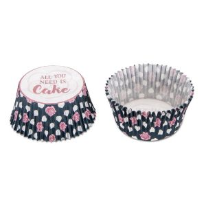 "LOT DE 50 CAISSETTES CUPCAKE CUPS EN PAPIER ""All You Need Is Cake""- STADTER"