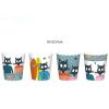 BOITE DE 4 GOBELETS A CAFE DECOR CHAT POISSON MARIN - FOX TROT